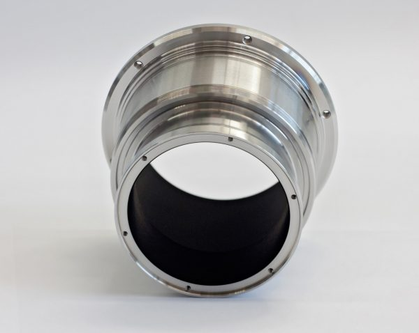 shiny metallic component coated with vacuum black coating